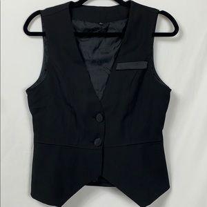 "Black 2 button vest peplum bottom chest 17.5"""
